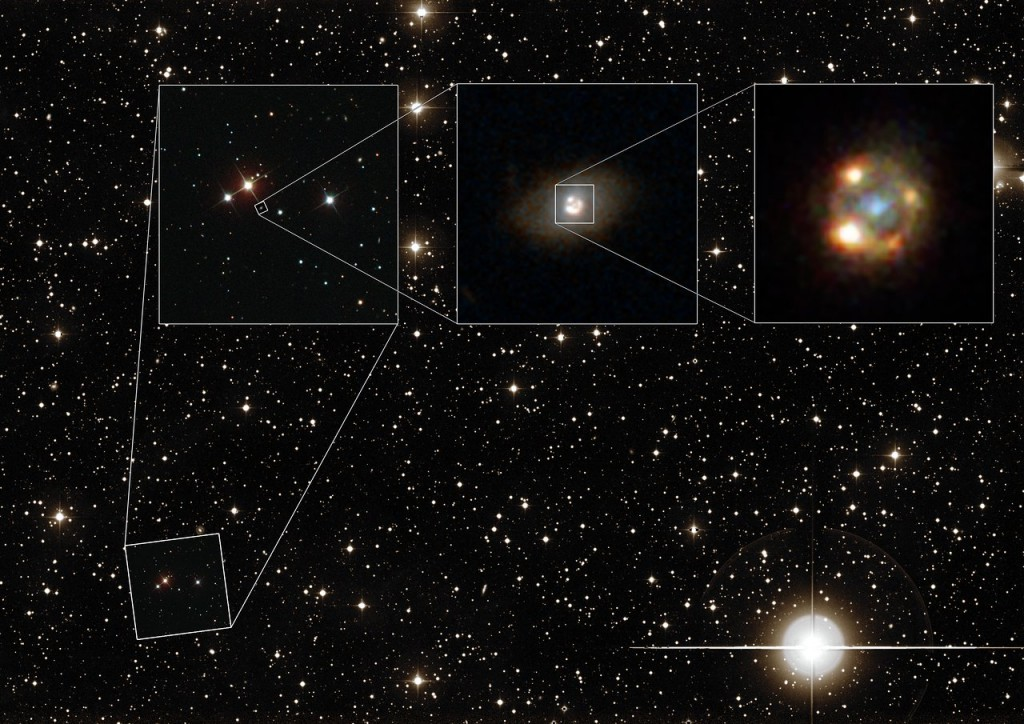 This composite image shows the gravitationally lensed type Ia supernova iPTF16geu, as seen with different telescopes. The background image shows a wide-field view of the night sky as seen with the Palomar Observatory located on Palomar Mountain, California. The leftmost image shows observations made with the Sloan Digital Sky Survey (SDSS). The central image was taken by the NASA/ESA Hubble Space Telescope and shows the lensing galaxy SDSS J210415.89-062024.7. The rightmost image was also taken with Hubble and depicts the four lensed images of the supernova explosion, surrounding the lensing galaxy.