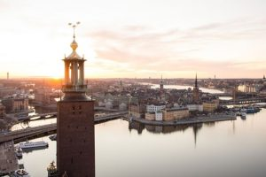 Stockholm at sunset with the city hall tower prominently in view