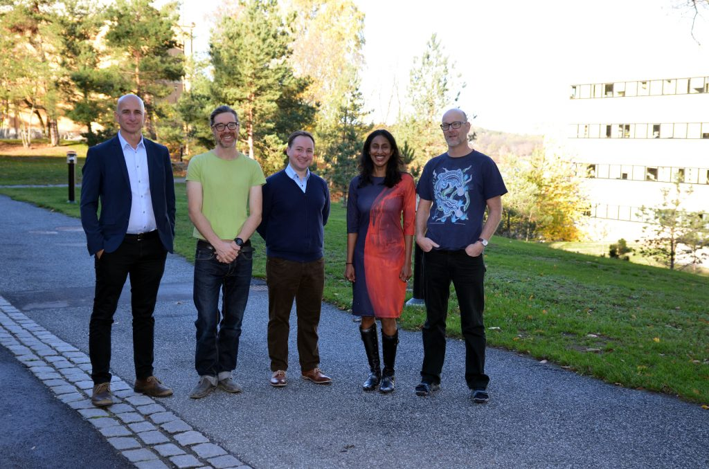 Standing outside AlbaNova, From the left, Ariel Goobar, Matthew Hayes, Jens Jache, Hiranya Peiris, Jesper Sollerman
